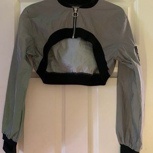 DOLLS KILL REFLECTIVE CROP JACKET L